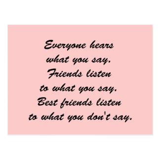 Los mejores amigos escuchan tarjetas postales