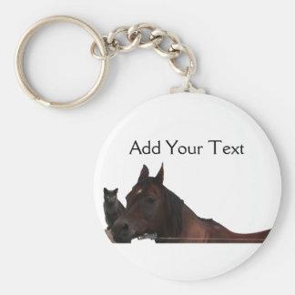 Los mejores amigos gato y caballo abrazan para arr llavero redondo tipo pin