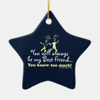 Los mejores amigos saben el recuerdo adorno navideño de cerámica en forma de estrella