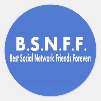 Los mejores amigos sociales de la red para siempre pegatina redonda