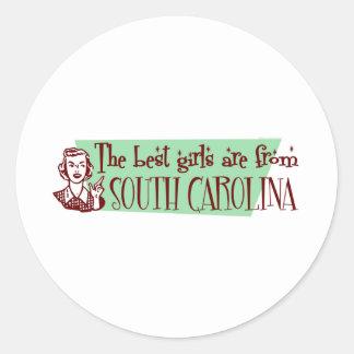 Los mejores chicas son de Carolina del Sur Pegatinas Redondas