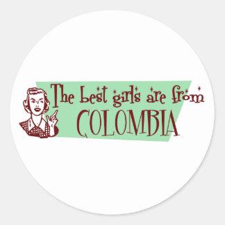 Los mejores chicas son de Colombia Pegatina Redonda