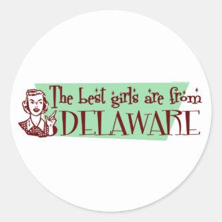 Los mejores chicas son de Delaware Etiquetas Redondas