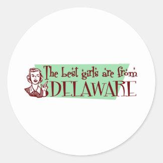 Los mejores chicas son de Delaware Pegatina Redonda