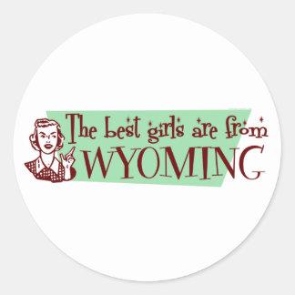 Los mejores chicas son de Wyoming Etiquetas Redondas