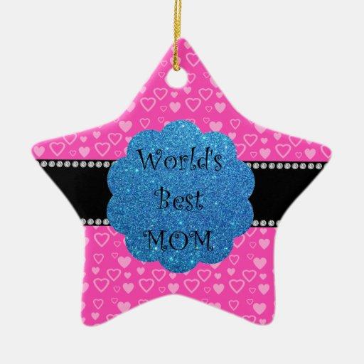 Los mejores corazones del rosa de la mamá del mund ornamento para arbol de navidad