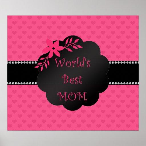 Los mejores corazones del rosa de la mamá del mund impresiones