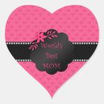 Los mejores corazones del rosa de la mamá del pegatinas de corazon