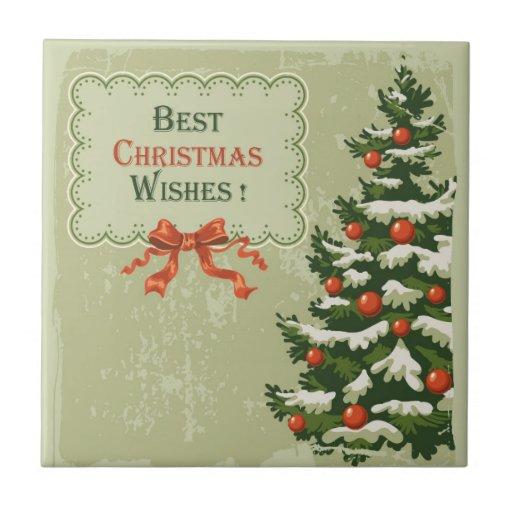 Los mejores deseos del navidad azulejo