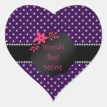 Los mejores diamantes de la púrpura de la mamá del calcomanía de corazón personalizadas