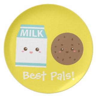 Los mejores Pals, leche linda y galletas Platos Para Fiestas