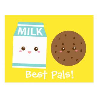 Los mejores Pals, leche linda y galletas Tarjetas Postales