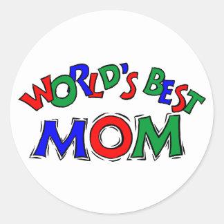 Los mejores pegatinas de la mamá del mundo pegatina redonda