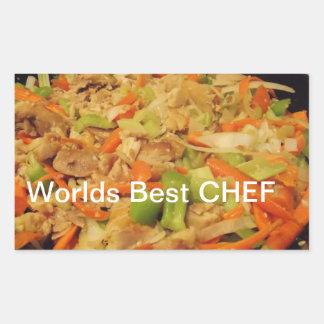 los mejores pegatinas del cocinero de los mundos pegatina rectangular