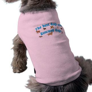 Los mejores perros son rescates playera sin mangas para perro