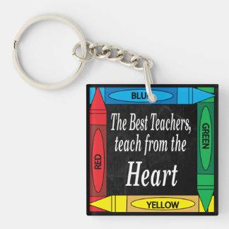 Los mejores profesores, enseñan del profesor del llavero cuadrado acrílico a una cara