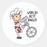 Los mejores regalos del panadero de los mundos etiqueta redonda