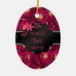 Los mejores rosas del rosa de la mamá del mundo adornos de navidad