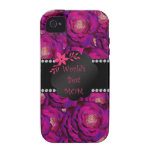 Los mejores rosas del rosa de la mamá del mundo iPhone 4 carcasas