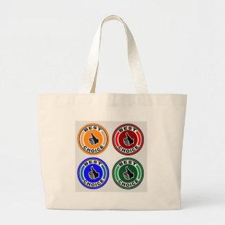 Los mejores símbolos coloridos bien escogidos bolsa de tela grande