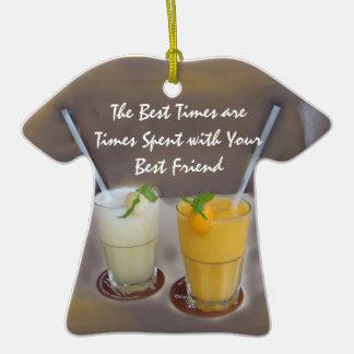 Los mejores tiempos son épocas con su mejor amigo adorno de cerámica en forma de playera