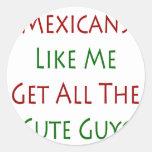 Los mexicanos como mí consiguen a todos los pegatina redonda
