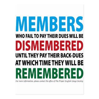 Los miembros desmembraron 1 postales