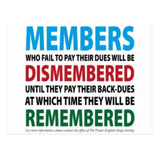 Los miembros desmembraron 1 tarjetas postales