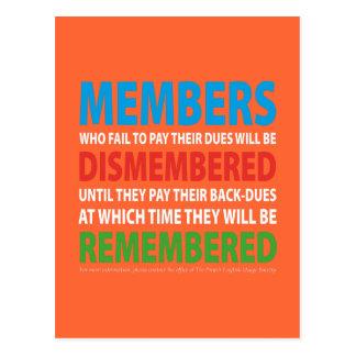 Los miembros desmembraron 2 tarjetas postales