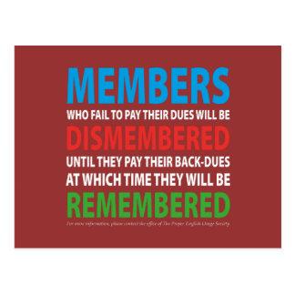 Los miembros desmembraron 2 postales