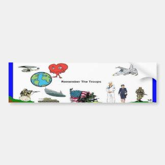 Los militares apoyan a la pegatina para el paracho etiqueta de parachoque