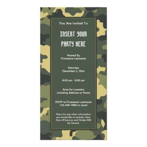 Los militares camuflan la invitación del fiesta tarjeta con foto personalizada