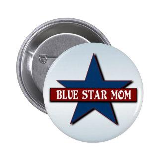 Los militares de la mamá de la estrella azul pin redondo de 2 pulgadas