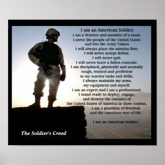 Los militares del credo de los soldados póster