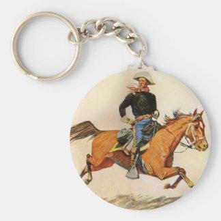 Los militares del vintage, una caballería mandan llavero redondo tipo pin