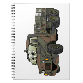 Los militares estacan el dibujo animado del camión libretas espirales