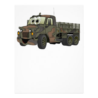 Los militares estacan el dibujo animado del camión membrete a diseño