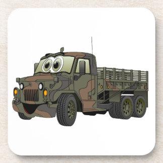 Los militares estacan el dibujo animado del camión posavasos de bebida