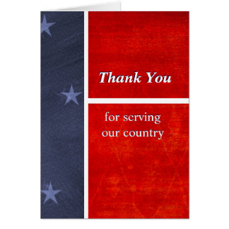 Los militares le agradecen por servir nuestro tarjeta de felicitación