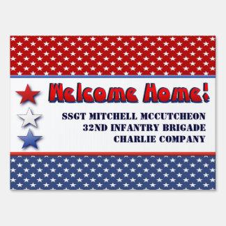 Los militares patrióticos dan la bienvenida a casa cartel