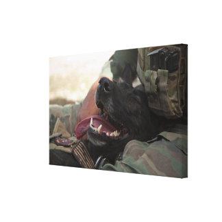 Los militares sonrientes del pastor alemán persigu impresiones en lona