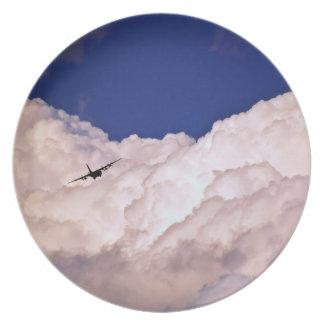 Los militares transportan el aeroplano platos