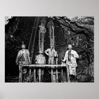 Los mineros en el trabajo en el Quincy minan C. 18 Posters