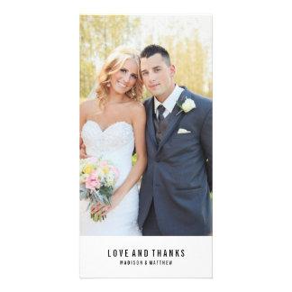 Los | mínimos que se casan le agradecen tarjeta de tarjeta fotografica personalizada