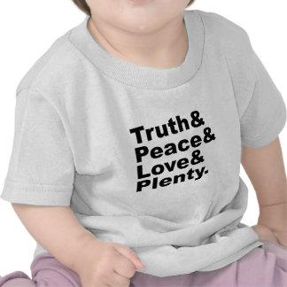 Los ministerios de la verdad y paz y amor y abunda camisetas