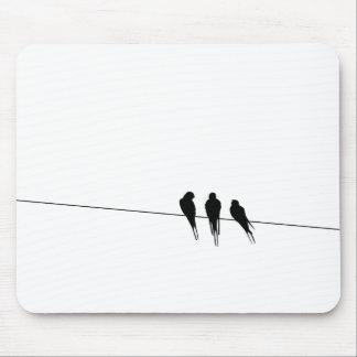 Los mirlos siluetean en el alambre mouse pad