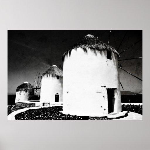 Los molinoes de viento de Mykonos - b&w Póster