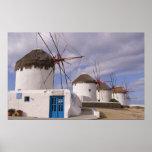 Los molinoes de viento de Mykonos en las islas gri Póster