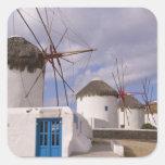 Los molinoes de viento de Mykonos en las islas Pegatina Cuadrada