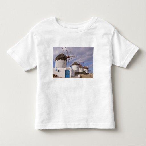 Los molinoes de viento de Mykonos en las islas Camisetas